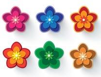 Insieme di elementi di vettore dei fiori di carta illustrazione vettoriale