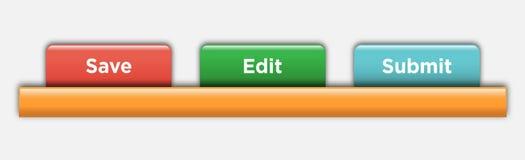Insieme di elementi di web design bianco IllustrationSet di vettore delle linguette di navigazione del sito Web dell'acqua di vet illustrazione vettoriale