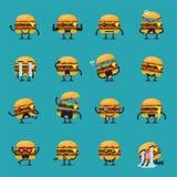 Insieme di emoji del carattere dell'hamburger Fotografia Stock