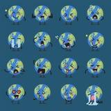 Insieme di emoji del carattere del globo della terra Fotografia Stock