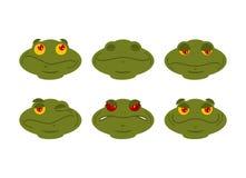 Insieme di emoji della rana bene e male dell'avatar del rospo anfibio Sonni e Fotografia Stock Libera da Diritti