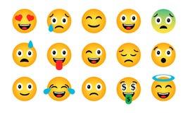 Insieme di Emoji Icone emozionali divertenti sveglie illustrazione vettoriale