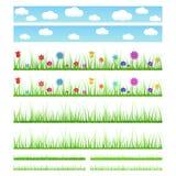 Insieme di erba senza cuciture con i fiori e senza Immagini Stock Libere da Diritti