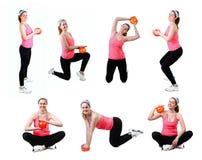 Insieme di esercitazione della donna con fisio nastro adesivo del lattice Immagini Stock Libere da Diritti
