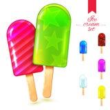 Insieme di estate del gelato Fotografia Stock Libera da Diritti