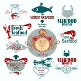 Insieme di etichetta dei frutti di mare Immagine Stock Libera da Diritti