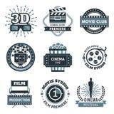 Insieme di etichetta del cinema illustrazione vettoriale