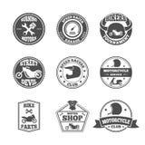 Insieme di etichetta del motociclista illustrazione di stock