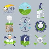 Insieme di etichetta di golf Fotografia Stock