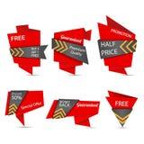 Insieme di etichetta di progettazione di origami Fotografie Stock Libere da Diritti