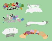 Insieme di etichetta di verdure della cucina disegnata a mano Fotografie Stock