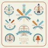Insieme di etichetta nautico delle ancore 02 Illustrazione Vettoriale