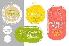 Insieme di etichetta variopinto dei pistacchi Forme organiche crude del distintivo dei pistacchi Etichette creative del dado Auto royalty illustrazione gratis