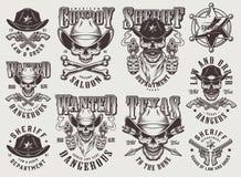 Insieme di etichette ad ovest selvaggio monocromatico d'annata royalty illustrazione gratis