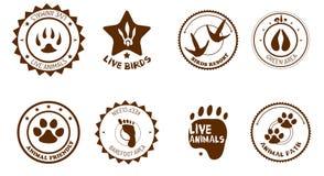 Insieme di etichette animale Fotografia Stock