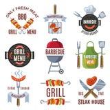 Insieme di etichette colorato per il partito del bbq Alimento cotto Fotografia Stock