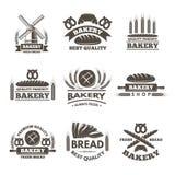 Insieme di etichette d'annata del forno Modello di logo nello stile di vettore illustrazione vettoriale
