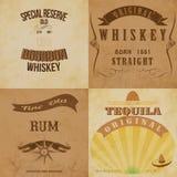 Insieme di etichette d'annata dell'alcool Immagini Stock Libere da Diritti