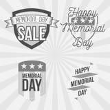Insieme di etichette d'annata di Memorial Day Immagini Stock Libere da Diritti
