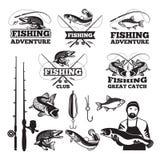 Insieme di etichette d'annata per la pesca del club Modelli del logos di vettore royalty illustrazione gratis