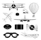 Insieme di etichette degli aerei Illustrazione di vettore Illustrazione Vettoriale