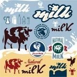 Insieme di etichette del latte Fotografie Stock