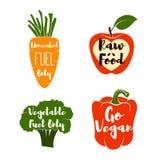 Insieme di etichette del vegano - Cocept scarabocchio - peperone dolce Mela rossa Broccoli verdi Carota Illustrazione di vettore Immagini Stock Libere da Diritti