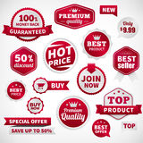 Insieme di etichette dell'insegna di offerta di prezzi di vettore Fotografie Stock