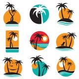 Insieme di etichette della palma illustrazione di stock