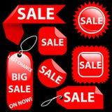 Insieme di etichette delle etichette di vendita sette di acquisto Fotografia Stock Libera da Diritti