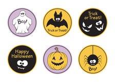 Insieme di etichette di Halloween Fotografia Stock