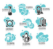 Insieme di etichette di noleggio di servizio di pulizia dell'ufficio e della Camera, aiuto di Logo Templates For Professional Cle Immagini Stock