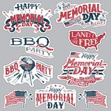 Insieme di etichette felice del partito del barbecue di Memorial Day illustrazione di stock