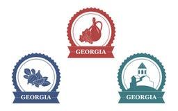 Insieme di etichette georgiano Immagine Stock