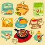 Insieme di etichette messicano dell'alimento Immagini Stock