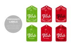 Insieme di etichette naturale del deposito della frutta del melograno nei colori verdi e rossi illustrazione di stock