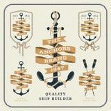 Insieme di etichette nautico d'annata del nastro e dell'ancora Royalty Illustrazione gratis