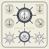 Insieme di etichette nautico d'annata del volante e dell'ancora Fotografie Stock Libere da Diritti