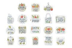 Insieme di etichette organico sano fresco di logo dell'alimento del vegano Distintivi con i prodotti naturali Linea arte con le v royalty illustrazione gratis