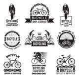 Insieme di etichette per il club della bicicletta Progettazione del logos di sport di Velo Fotografie Stock