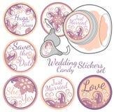 Insieme di etichette personale dell'autoadesivo di Candy illustrazione di stock