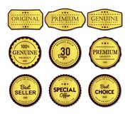 Insieme di etichette premio semplice e chiaro illustrazione di stock