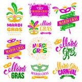 Insieme di etichette di tipografia di Mardi Gras Carnival Fotografie Stock Libere da Diritti