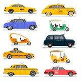 Insieme di fama mondiale di vettore delle automobili del taxi illustrazione di stock