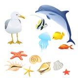 Insieme di fauna marina isolato Fotografie Stock Libere da Diritti
