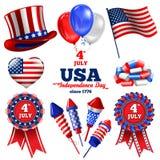 Insieme di festa dell'indipendenza Fotografia Stock