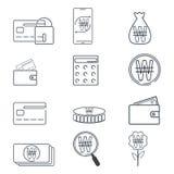 Insieme di finanza e dell'icona vinta del segno del KRW Linea semplice Fotografia Stock