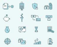 Insieme di finanza lineare di progettazione delle icone Illustrazione di vettore Fotografia Stock