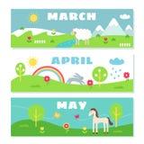 Insieme di Flashcards del calendario di mesi della primavera illustrazione di stock