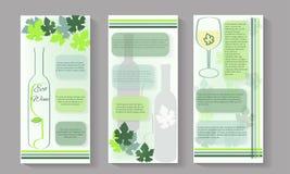 Insieme di Flayers del vino di eco Illustrazione di vettore degli opuscoli del vino illustrazione di stock